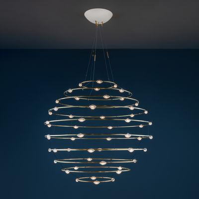 Lighting - Pendant Lighting - Petits Bijoux 56 Pendant - / LED - Ø 120 cm by Catellani & Smith - Ø 120 cm / Brass - Brass, Glass