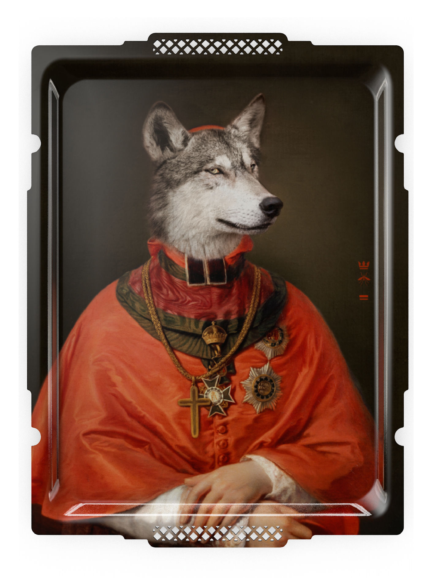 Tavola - Vassoi  - Piano/vassoio Le loup et l'Agneau di Ibride - Lupo - Laminato massello