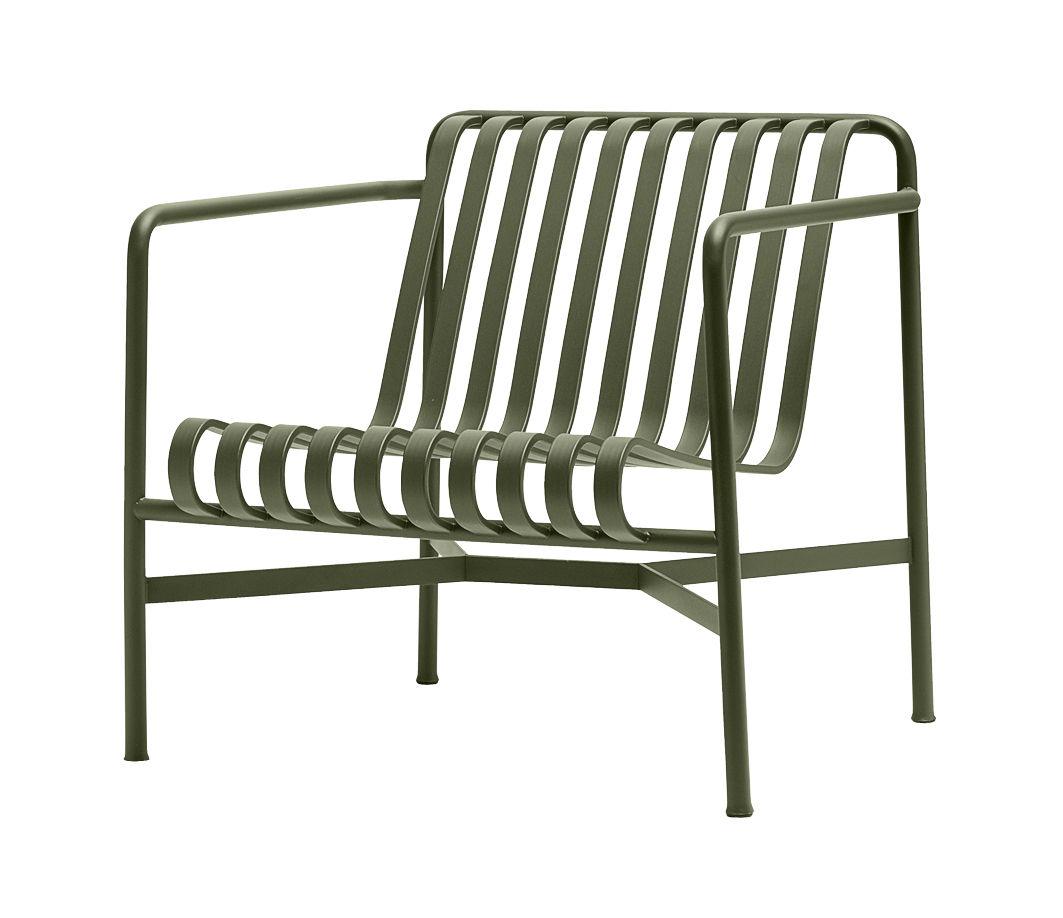 Arredamento - Poltrone design  - Poltrona bassa Palissade / Schienale basso - R & E Bouroullec - Hay - Verde oliva - In acciaio elettro- zincato, Peinture époxy