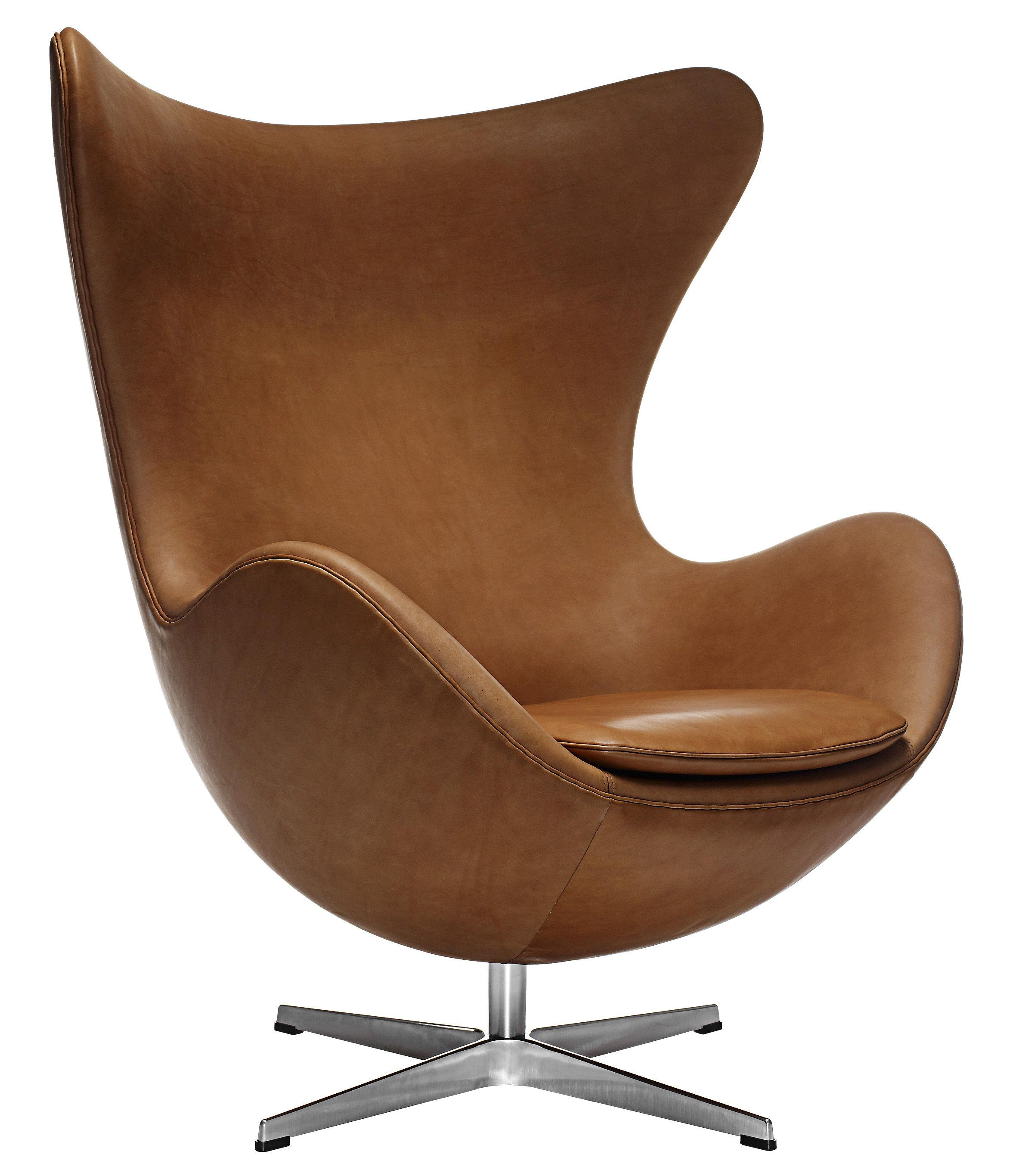 Arredamento - Poltrone design  - Poltrona girevole Egg chair - pelle di Fritz Hansen - Pelle marrone - Alluminio lucido, Fibra di vetro, Pelle pieno fiore, Schiuma di poliuretano