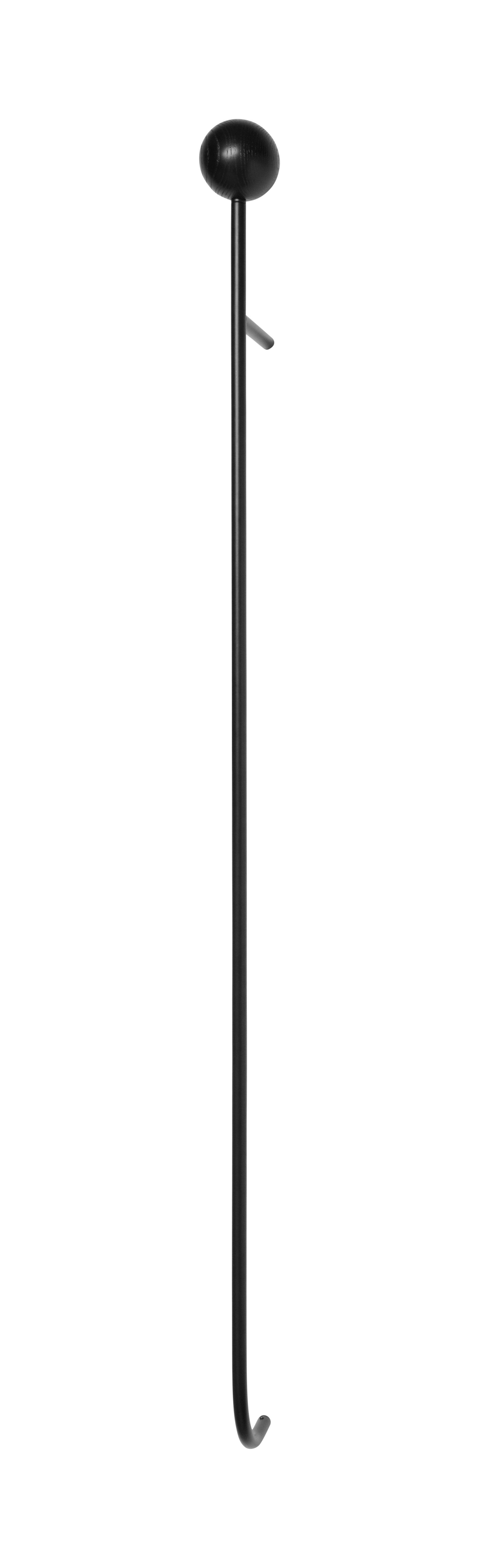 Mobilier - Portemanteaux, patères & portants - Portemanteau mural Pujo / Bois & métal - Ferm Living - Frêne teinté noir - Frêne teinté noir, Métal laqué époxy