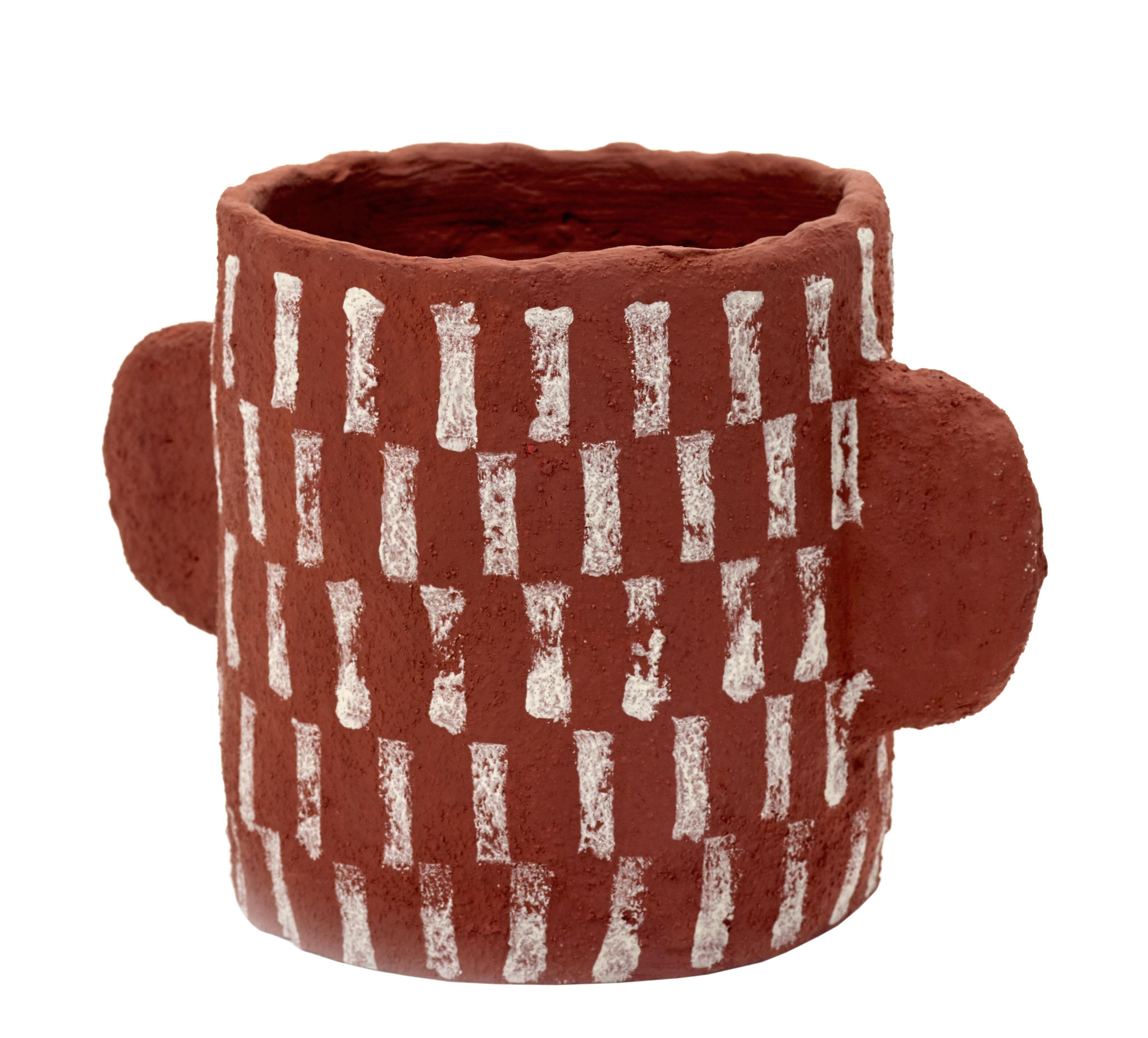Decoration - Flower Pots & House Plants - Marie Pot - / Papier recyclé by Serax - Rouge / Motifs blancs -  Papier mâché recyclé