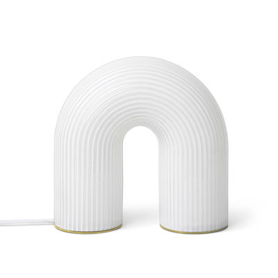 Lighting - Table Lamps - Vuelta LED Table lamp - / Ribbed glass by Ferm Living - Translucent white - Solid brass, Striated opaline glass