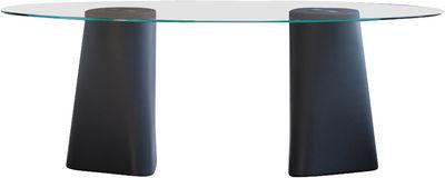Table ovale Adam / 200 x 100 cm - B-LINE gris,transparent en verre