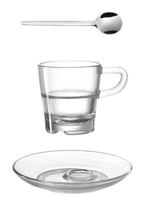 Tasse à espresso Senso / Avec soucoupe & cuillère - Leonardo acier,transparent en verre