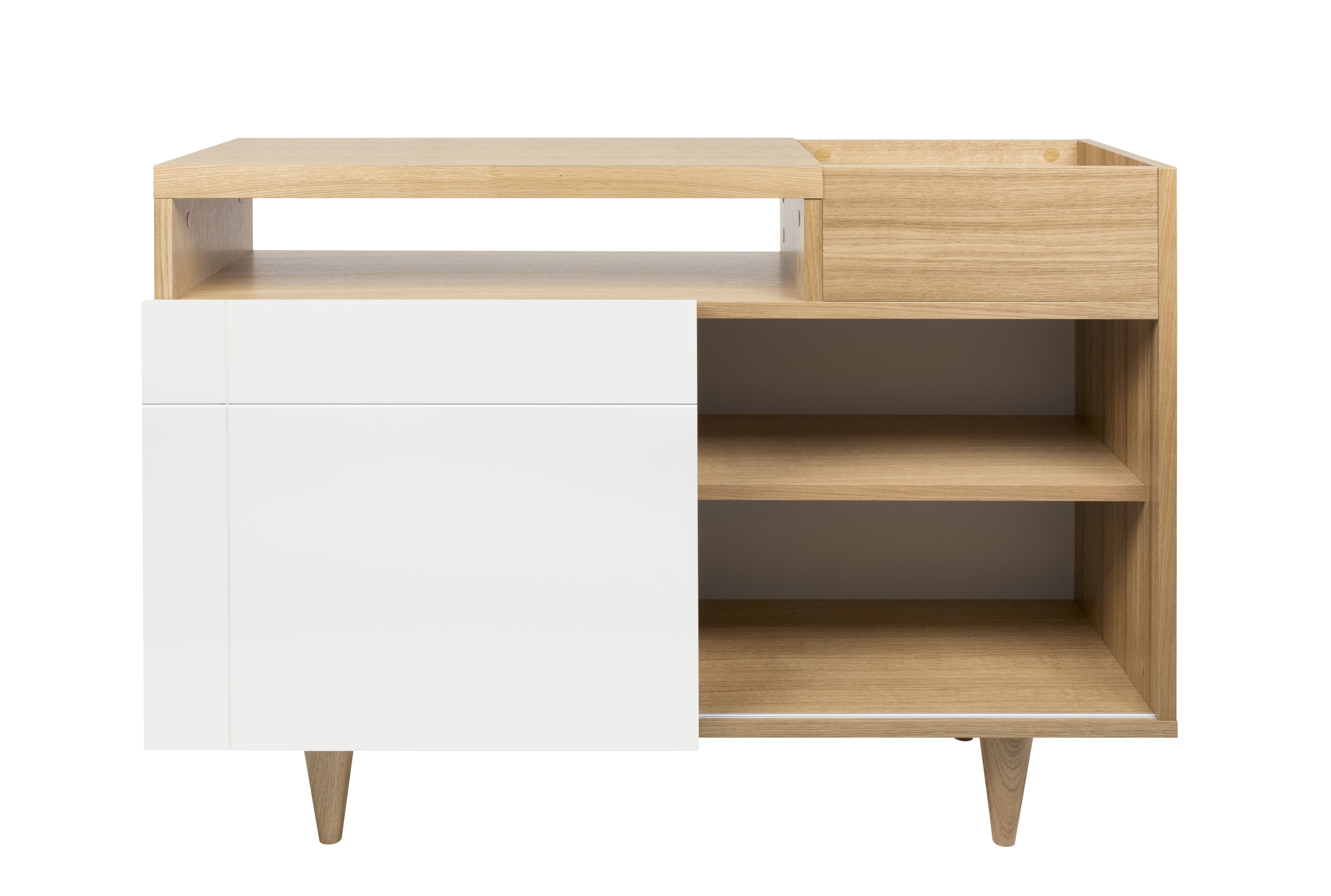 Arredamento - Contenitori, Credenze... - Credenza Slide / L 110 x H 82 cm - POP UP HOME - Bianco / Rovere - Aggloméré plaqué chêne, MDF tinto