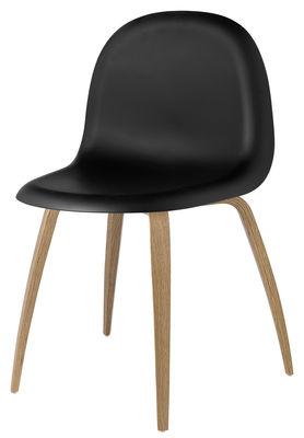 Chaise 3D / Coque plastique & pieds bois - Gubi noir en matière plastique