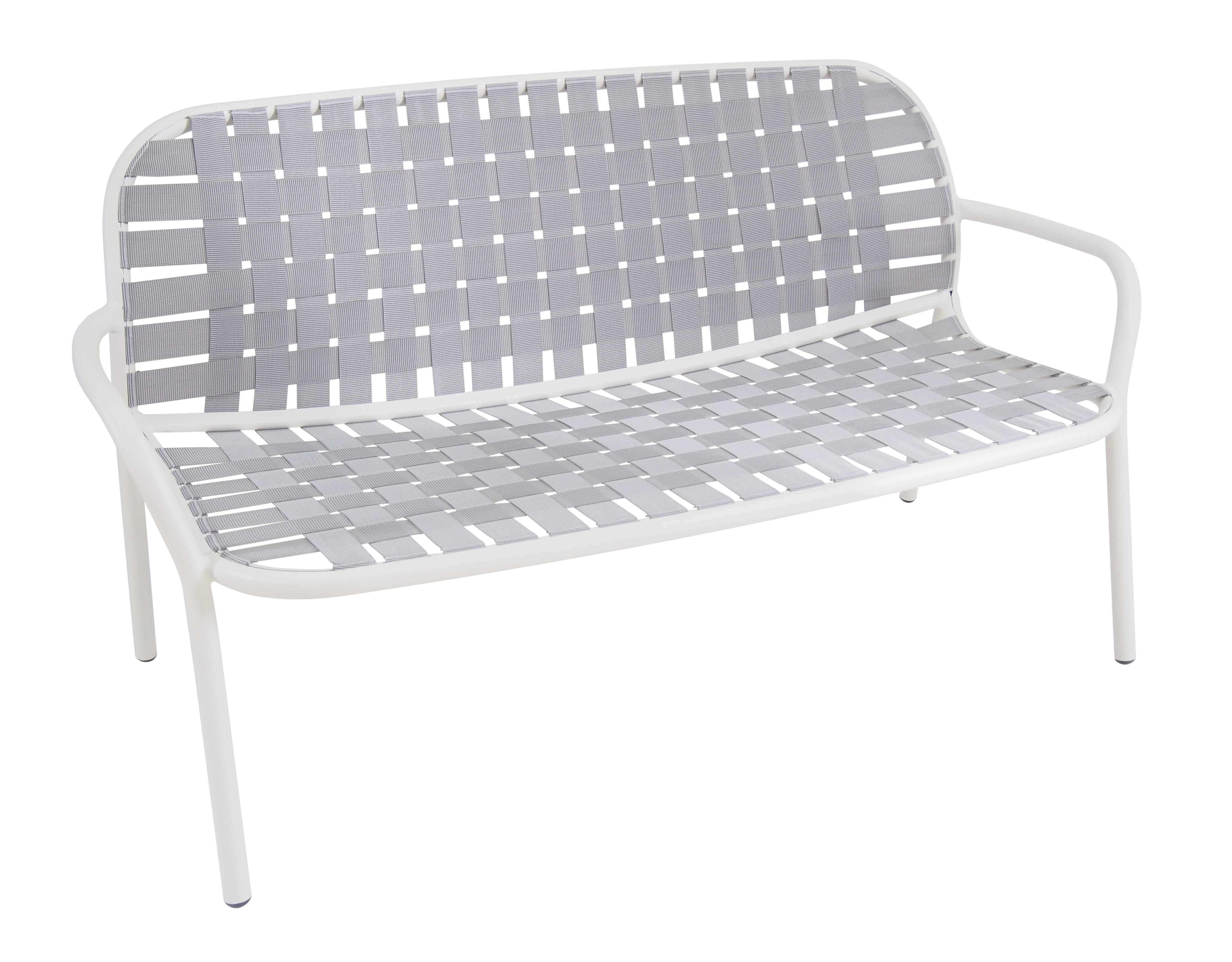 Arredamento - Divani moderni - Divano angolare destro Yard / 2 posti - L 139 cm - Emu - Struttura bianca / Seduta grigia - alluminio verniciato, Cinghie elastiche