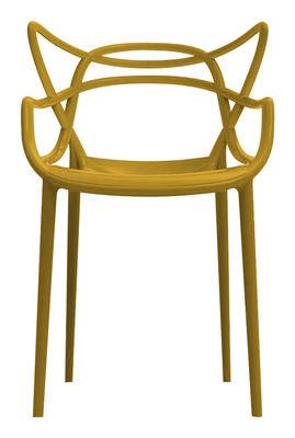 Mobilier - Chaises, fauteuils de salle à manger - Fauteuil empilable Masters / Plastique - Kartell - Moutarde - Polypropylène
