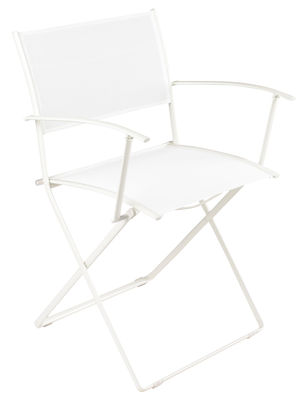Furniture - Chairs - Plein Air Folding armchair - Fabric by Fermob - White - Galvanized steel, Polyester cloth