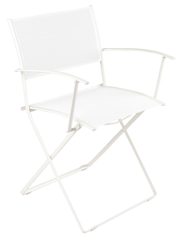 Möbel - Stühle  - Plein Air Klappsessel - Fermob - Weiß - galvanisierter Stahl, Polyester-Gewebe