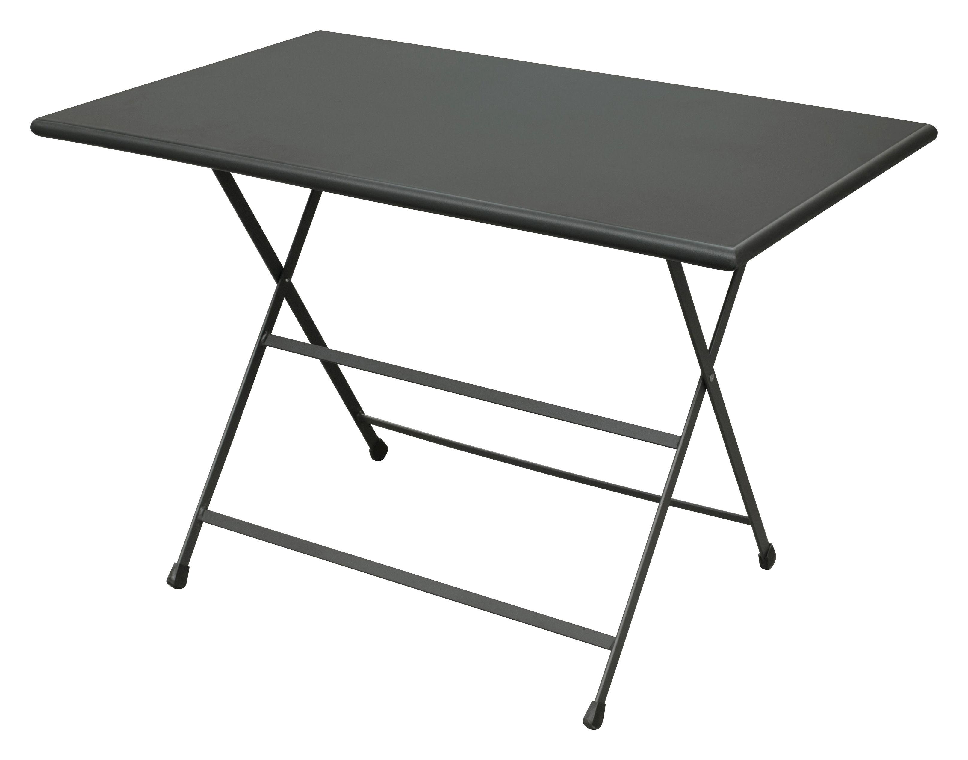 Outdoor - Tische - Arc en Ciel Klapptisch 110 x 70 cm - zusammenklappbar - Emu - Eisen (dunkel) - klarlackbeschichteter rostfreier Stahl