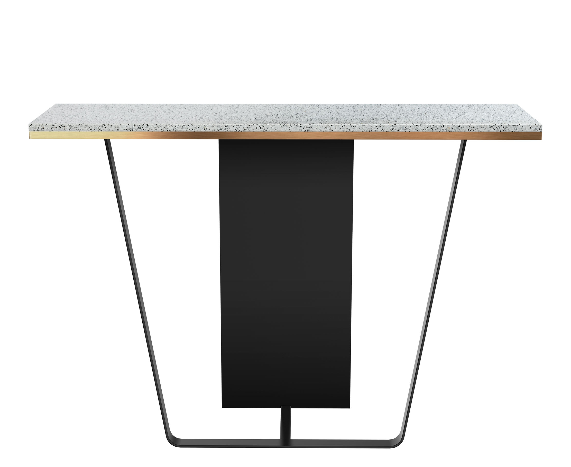Möbel - Konsole - Terrazzo Large Konsole / L 130 x T 38 cm - RED Edition - Weiß - Holz, lackierter Stahl, Messing, Terrazzo
