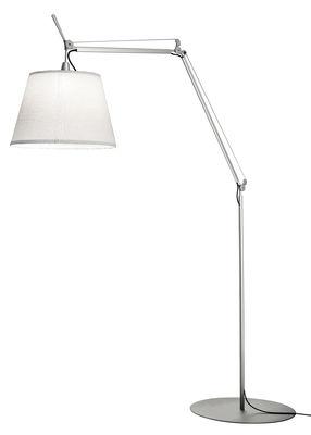 Illuminazione - Lampade da terra - Lampada Tolomeo Paralume Outdoor / LED - H 132 a 298 cm - Artemide - Bianco - Alluminio, Tissu Thuia