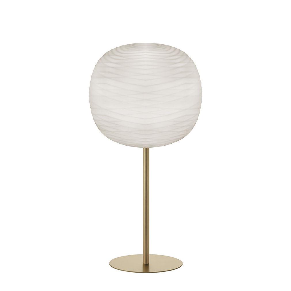 Illuminazione - Lampade da tavolo - Lampada da tavolo Gem High - / H 85 cm - Vetro soffiato di Foscarini - Blanc / Or - metallo laccato, Vetro soffiato satinato