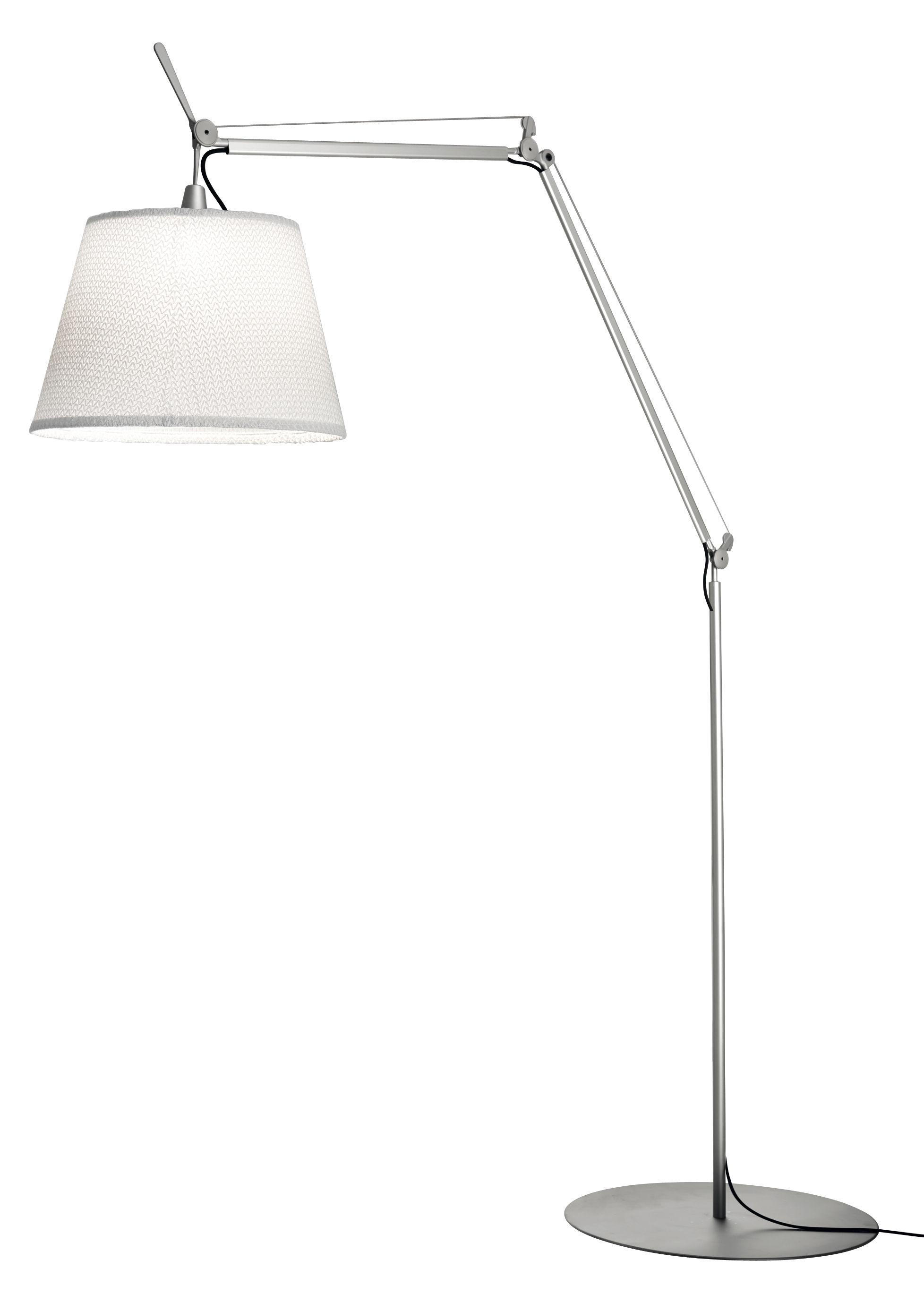 Luminaire - Lampadaires - Lampadaire Tolomeo Paralume LED Outdoor / H 132 à 298 cm - Artemide - Blanc - Aluminium, Tissu Thuia