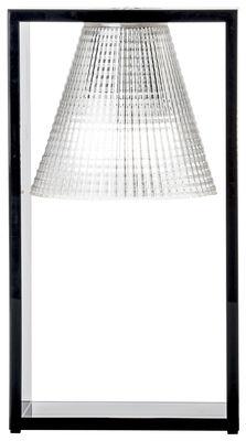 Lampe de table Light-Air / Abat-jour plastique sculpté - Kartell noir/transparent en matière plastique