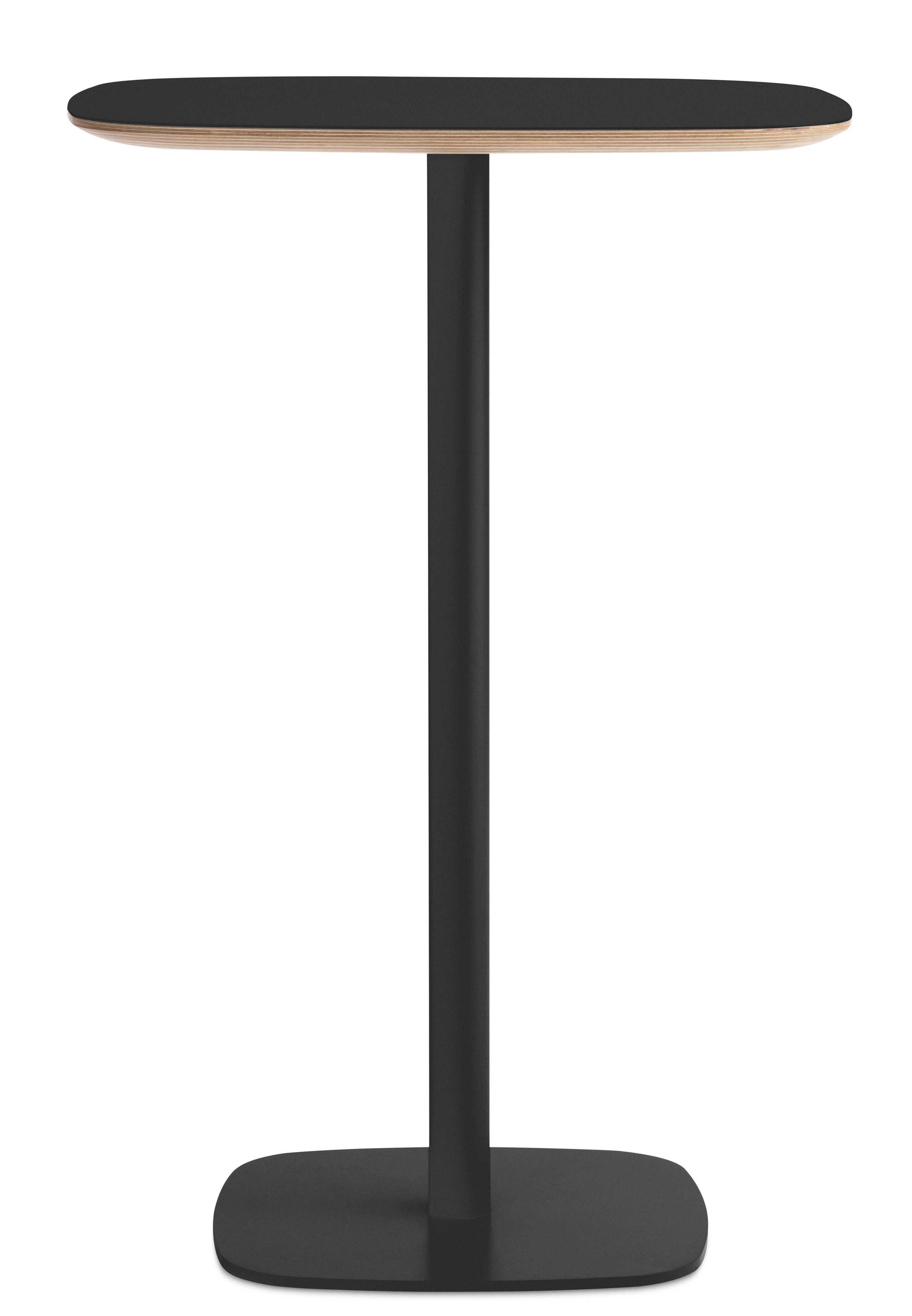 Mobilier - Mange-debout et bars - Mange-debout Form / 70x70 x H 104,5 cm - Normann Copenhagen - Noir / Chêne - Acier laqué, Chêne laqué, Chêne recouvert de linoleum