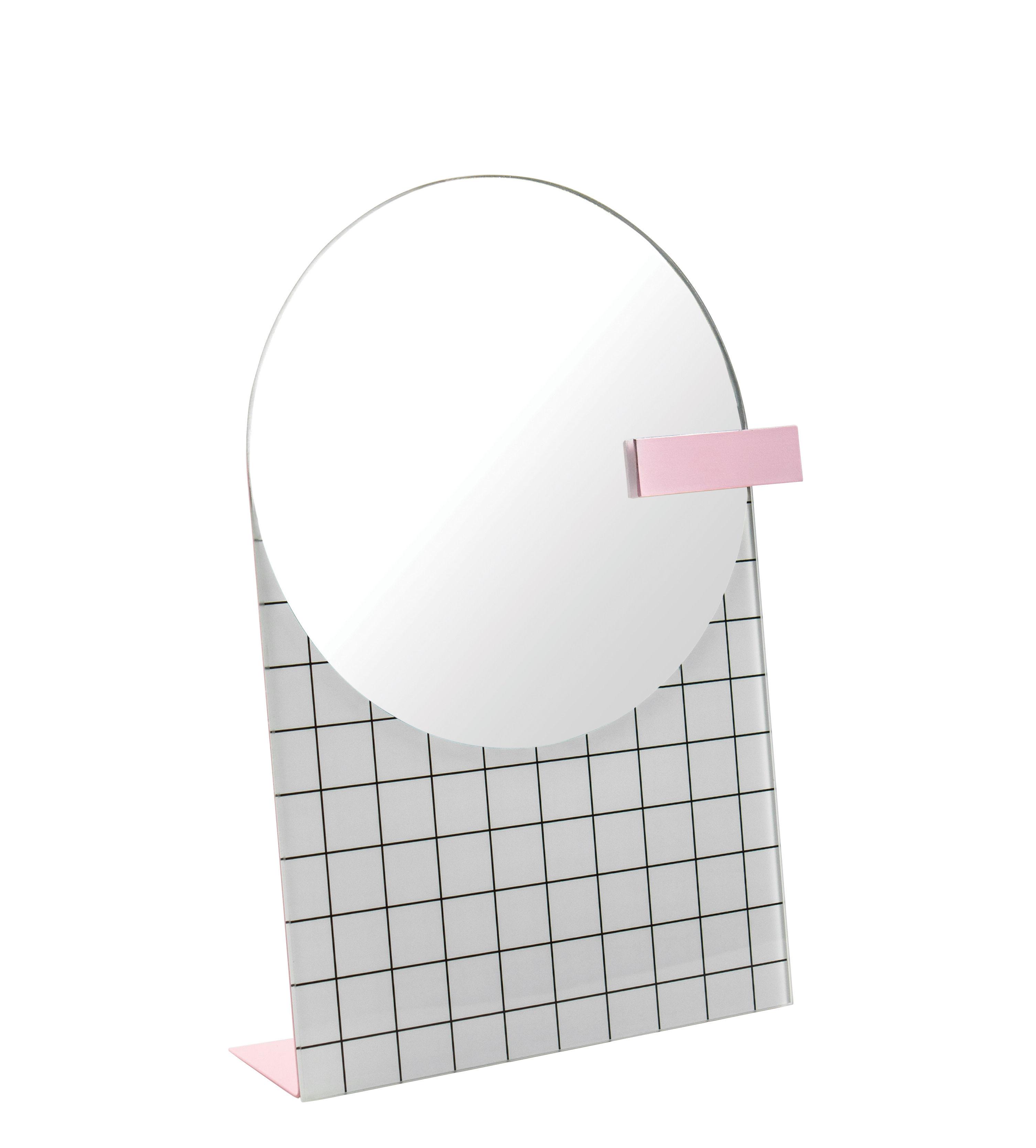 Accessoires - Accessoires salle de bains - Miroir à poser The Pool / L 20 x H 27 cm - Doiy - Blanc & Rose - Fer, Miroir