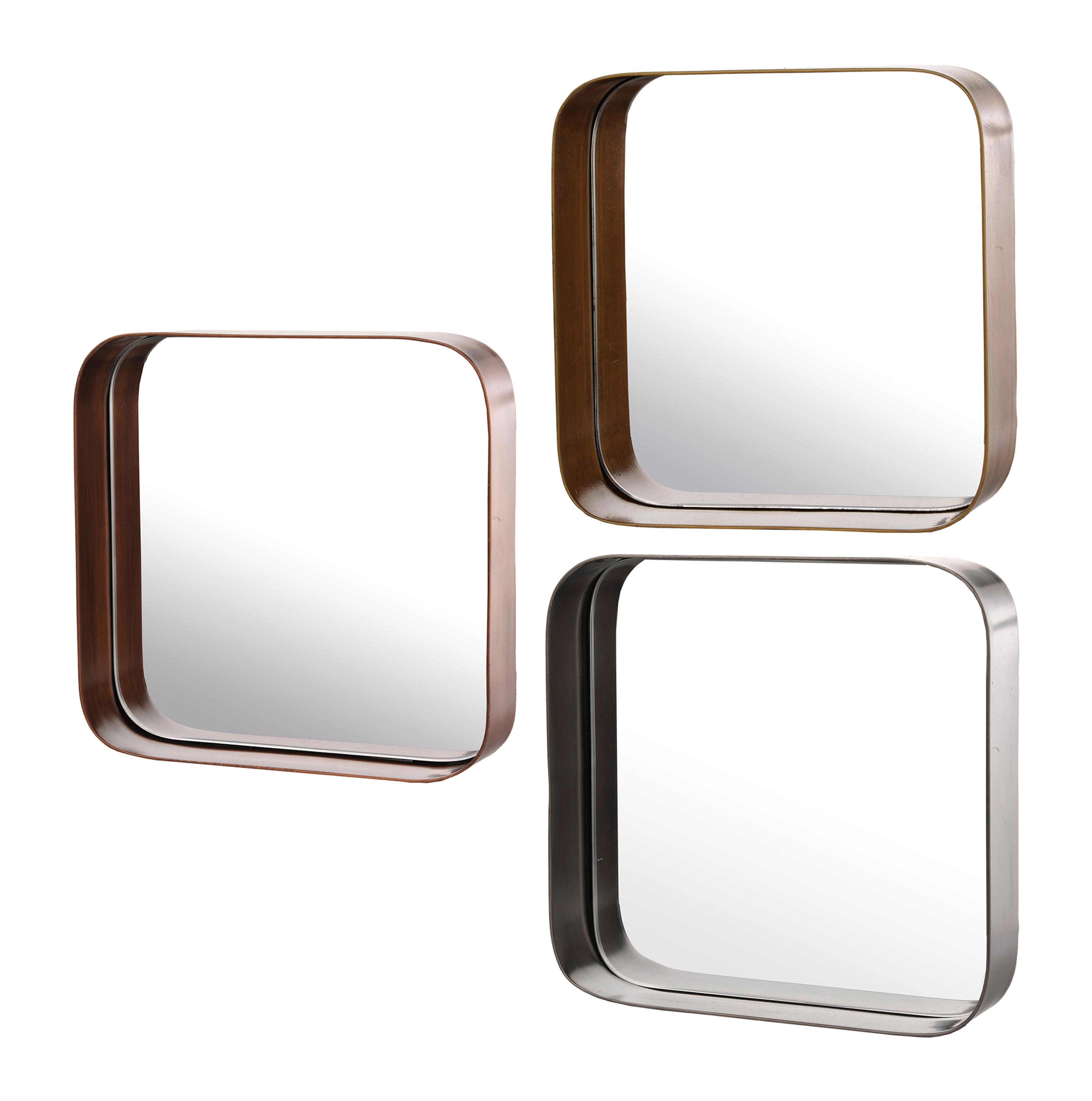 Déco - Miroirs - Miroir mural Edge Carrés / Set de 3 - Pols Potten - Laiton, Cuivre & argent - Métal, Miroir