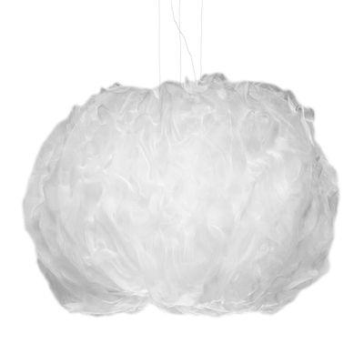 Lighting - Pendant Lighting - Nuée Large Pendant - / LED - Fabric / 150 x 100 cm by Foscarini - White - Technical fabric