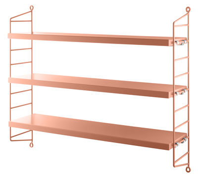 Furniture - Bookcases & Bookshelves - String Pocket Shelf - / L 60 x H 50 cm by String Furniture - Powder pink - Lacquered steel, Painted MDF