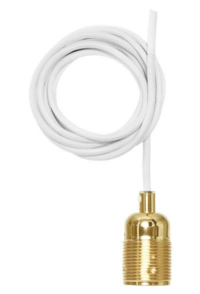 Illuminazione - Sospensione Frama Kit - /Set cavo rivestito di tessuto & portalampada E27 di Frama  - Ottone / Cavo bianco - Ottone, Tessuto