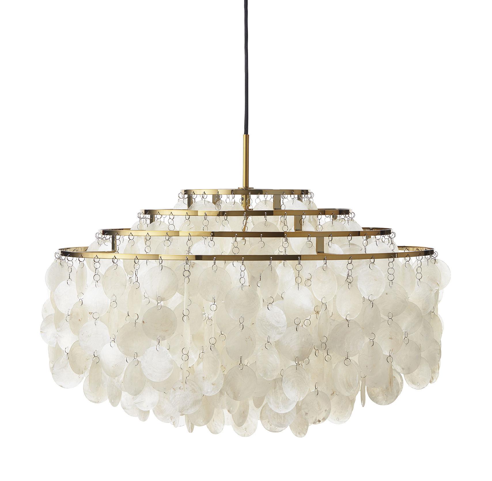 Illuminazione - Lampadari - Sospensione Fun 10DM / Ø 57 cm - Panton 1964 - Verpan - Madreperla & ottone - Madreperla, Metallo