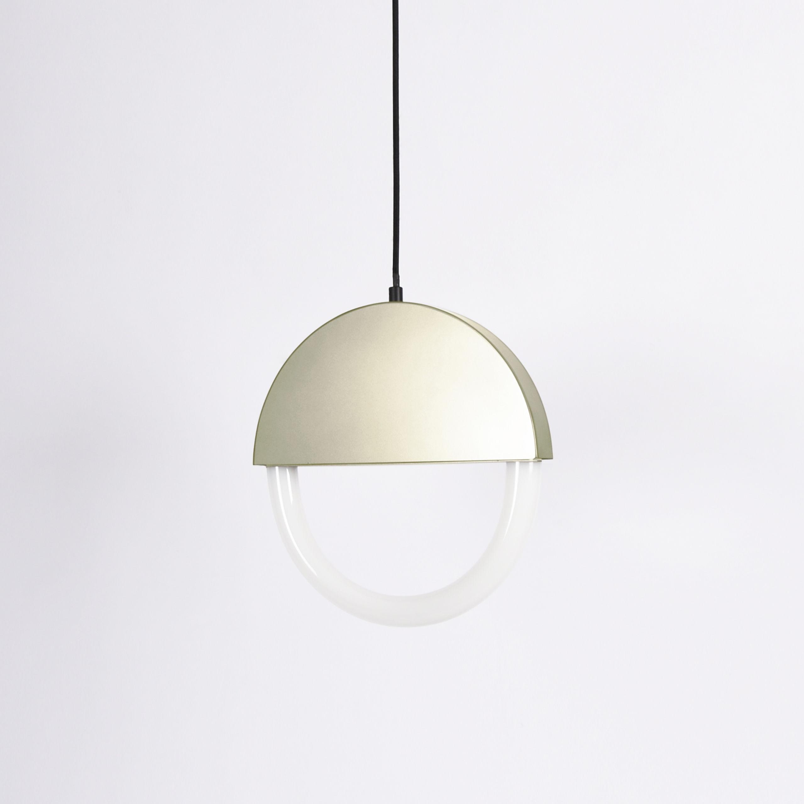 Illuminazione - Lampadari - Sospensione Percent LED - / Ø 30 cm - Forma appiattita di ENOstudio - Champagne - Acciaio verniciato, Vetro
