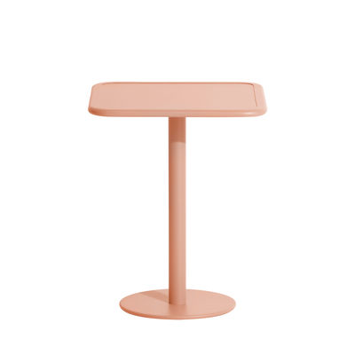 Outdoor - Garden Tables - Week-End Square table - / Bistrot - Aluminium - 60 x 60 cm by Petite Friture - Blush pink - Powder coated epoxy aluminium