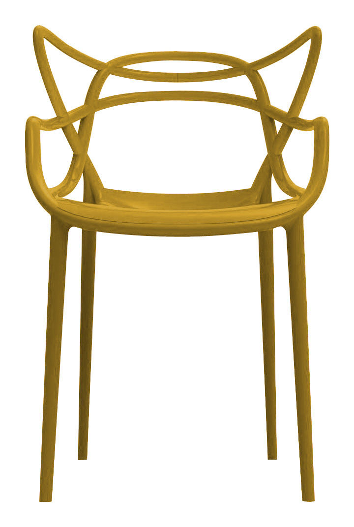 Furniture - Chairs - Masters Stackable armchair - Plastic by Kartell - Mustard - Polypropylene