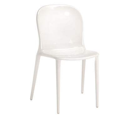 Furniture - Chairs - Thalya Stacking chair - opaque / Polycarbonate by Kartell - shiny white - Polycarbonate