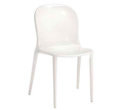 Möbel - Stühle  - Thalya Stapelbarer Stuhl Blickdichte Ausführung - Kartell - Weiß glänzend - Polykarbonat