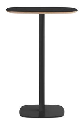 Möbel - Stehtische und Bars - Form Stehtisch / 70 x 70 cm x H 104,5 cm - Normann Copenhagen - Schwarz / Tischbeine Eiche - Eiche mit Linoleum bedeckt, lackierte Eiche, lackierter Stahl