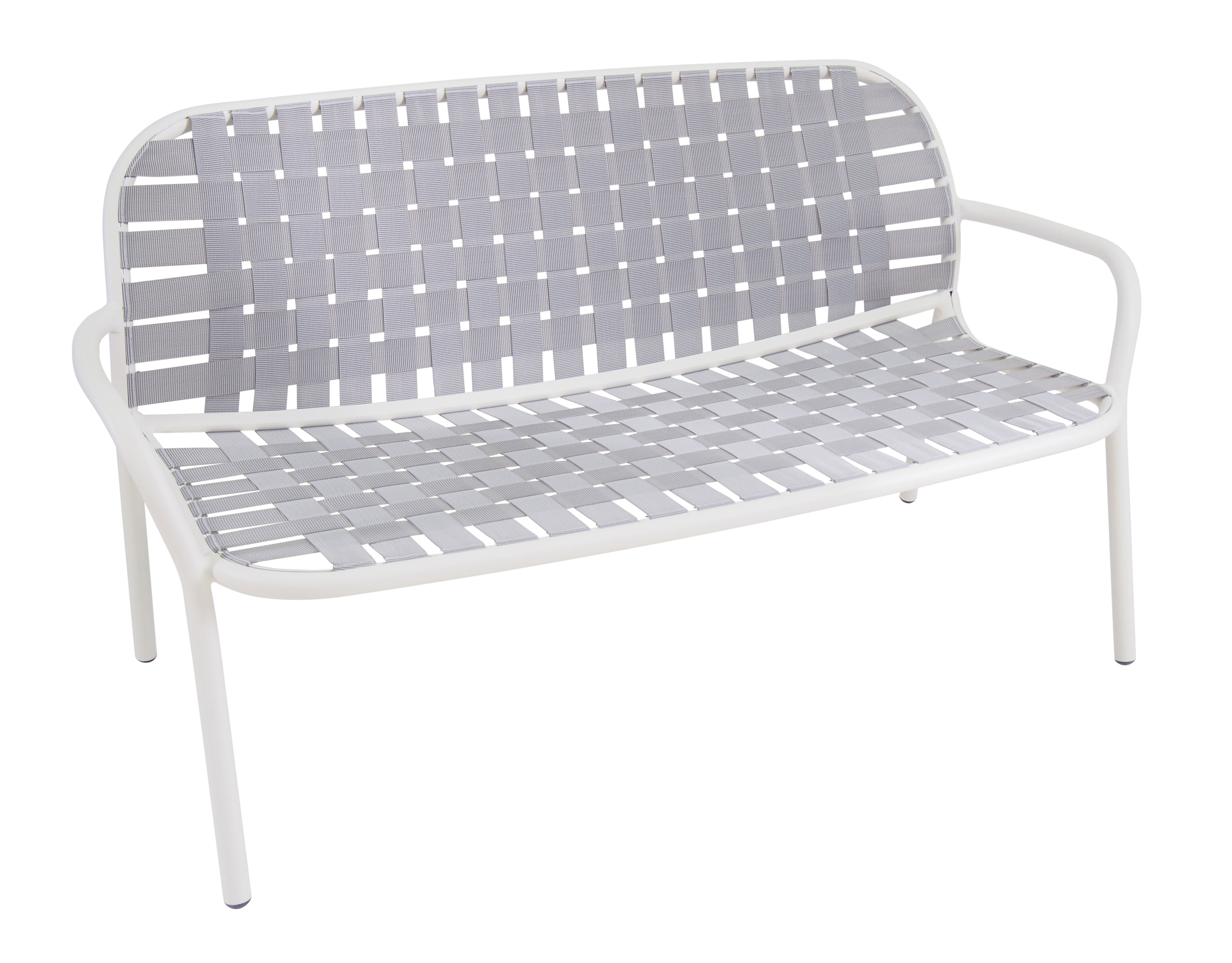 Furniture - Sofas - Yard Straight sofa - 2 guests - W 139 cm by Emu - White structure / Grey straps - Elastic straps, Varnished aluminium