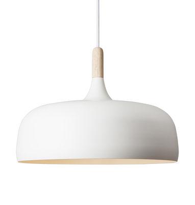 Luminaire - Suspensions - Suspension Acorn / Métal & bois - Ø 48 cm - Northern  - Blanc / Bois - Aluminium, Chêne