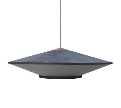 Luminaire - Suspensions - Suspension Cymbal Large / Ø 95 - Velours - Forestier - Bleu foncé - Chêne, Tissu, Velours