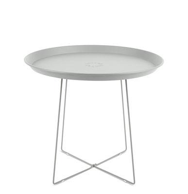 Table basse Plat-o / Plateau amovible - Ø 56 x H 46 cm - Fatboy gris clair en métal