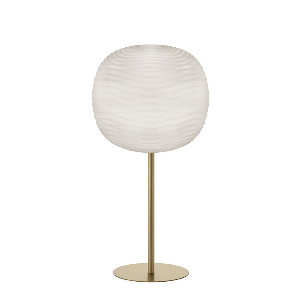 Lighting - Table Lamps - Gem High Table lamp - / H 85 cm - Blown glass by Foscarini - White / Gold - Lacquered metal, Satin blown glass