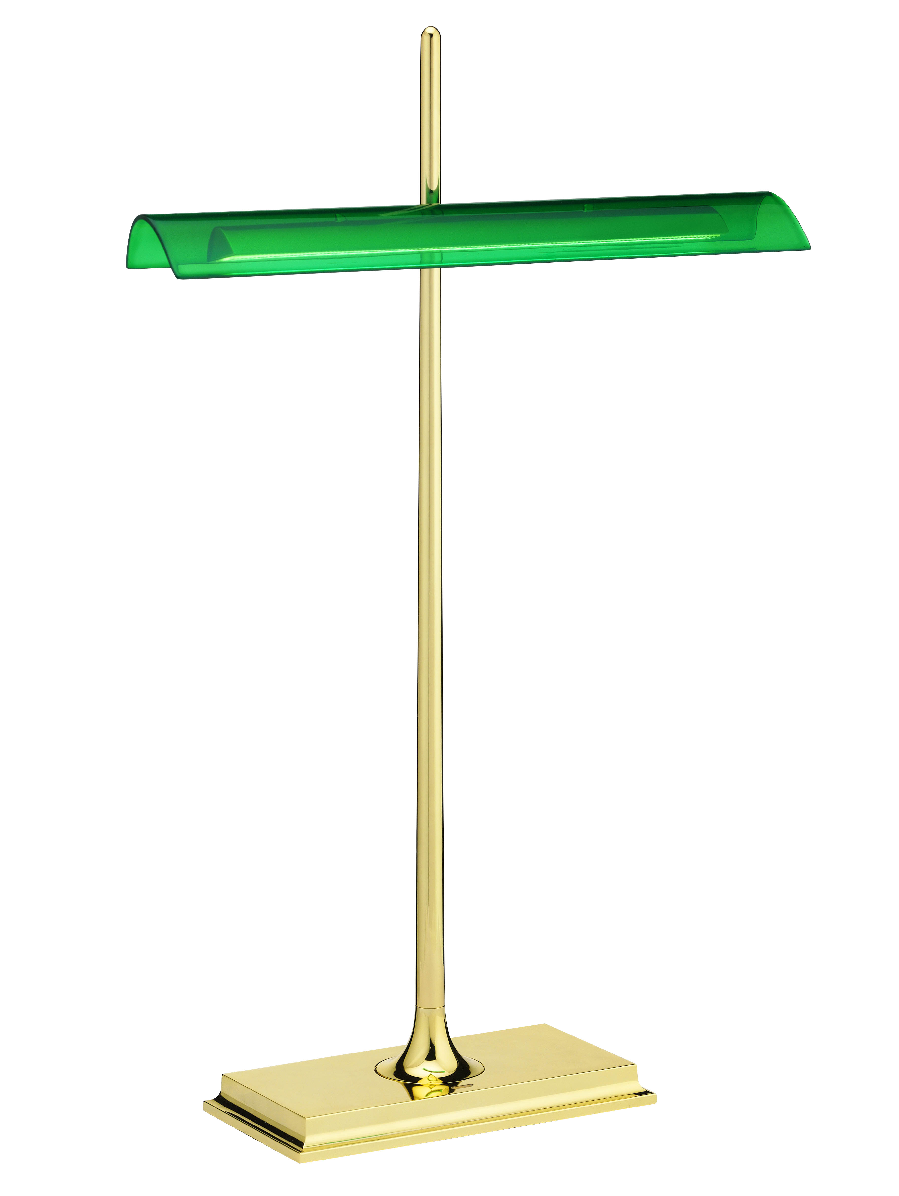 Lighting - Table Lamps - Goldman Table lamp by Flos - Green/ Brass structure - Methacrylate, Painted aluminium