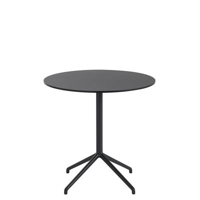 Furniture - Dining Tables - Still Café Table - / Ø 75 x H 73 cm - Linoleum by Muuto - Black - Cast aluminium, MDF with linoleum finish, Steel