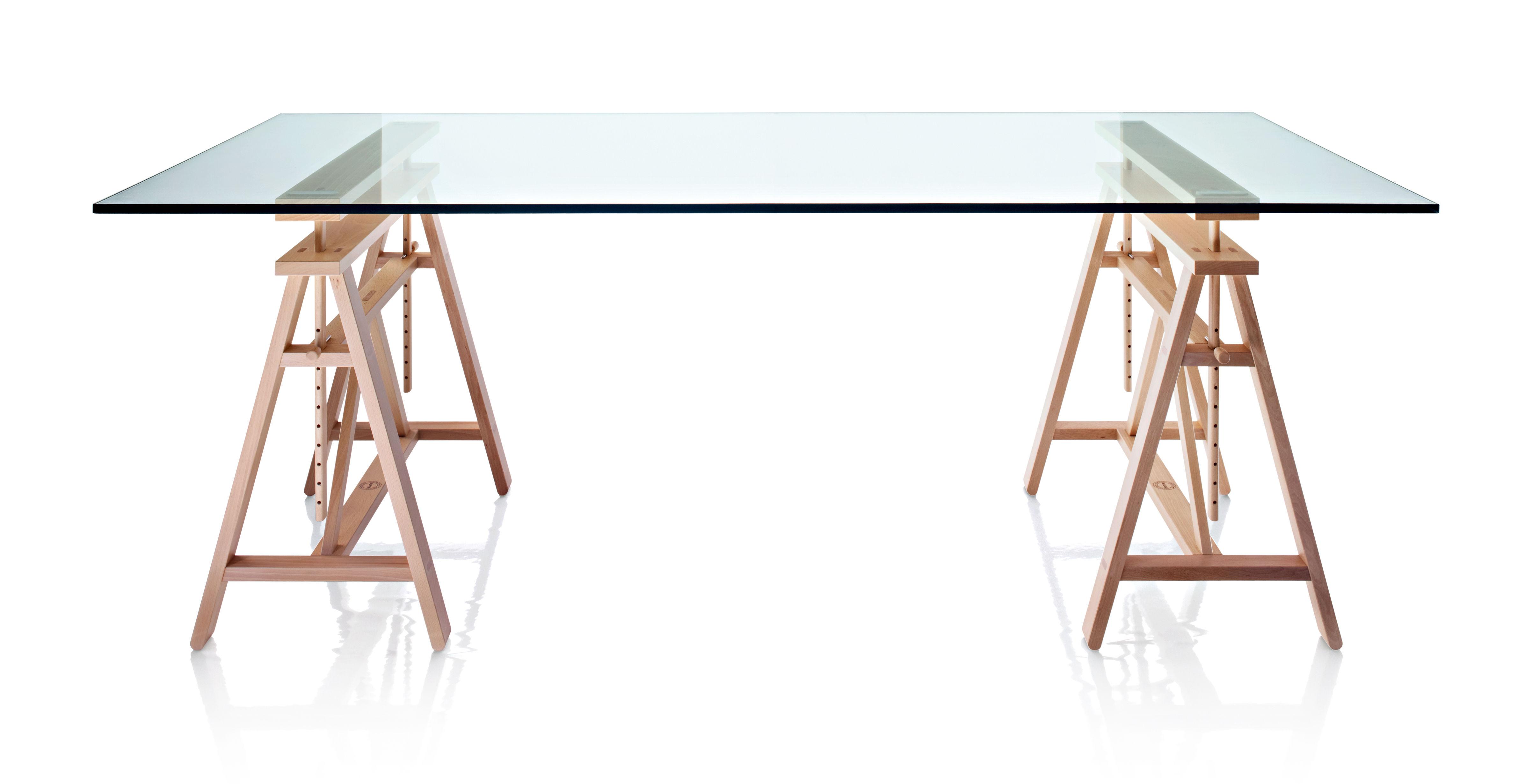 Table D Architecte En Bois table teatro / l 200 cm plateau verre - magis