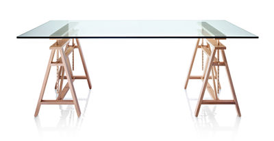 Furniture - Office Furniture - Teatro Table by Magis - Solid beech / Tempered glass - Beechwood, Glass