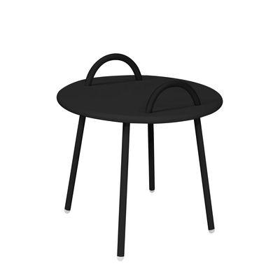 Image of Tavolino Swim Lounge - / 2 maniglie - Ø 51 x H 48,5 cm di Bibelo - Nero - Metallo
