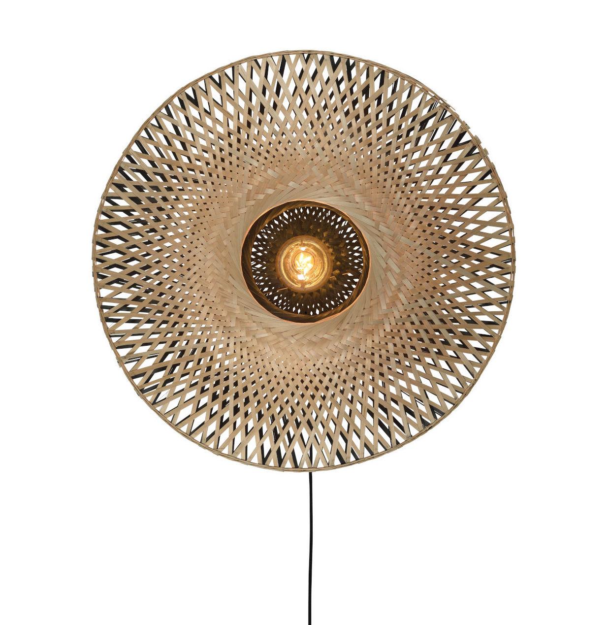 Lighting - Wall Lights - Kalimantan Wall light with plug - / Bamboo - Ø 60 cm by GOOD&MOJO - H 60 cm / Black & natural - Bamboo