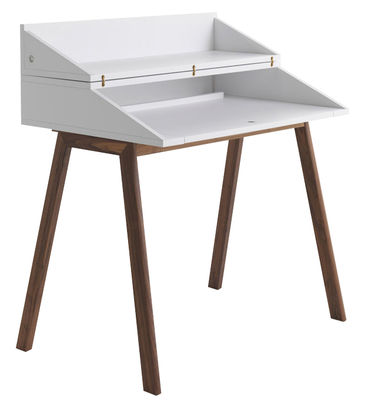 Furniture - Office Furniture - Bureau Writing desk - L 90 cm by Horm - White / Walnut leg - Lacquered MDF, Solid walnut