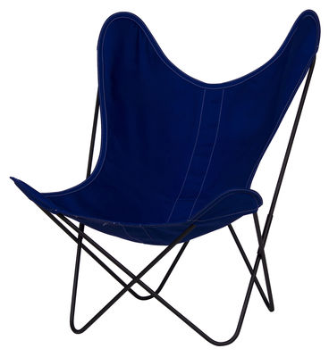 Furniture - Armchairs - AA Butterfly OUTDOOR Armchair - Cloth / Black structure by AA-New Design - Black frame / Blue cover - Outdoor treated cotton, Powder coated steel