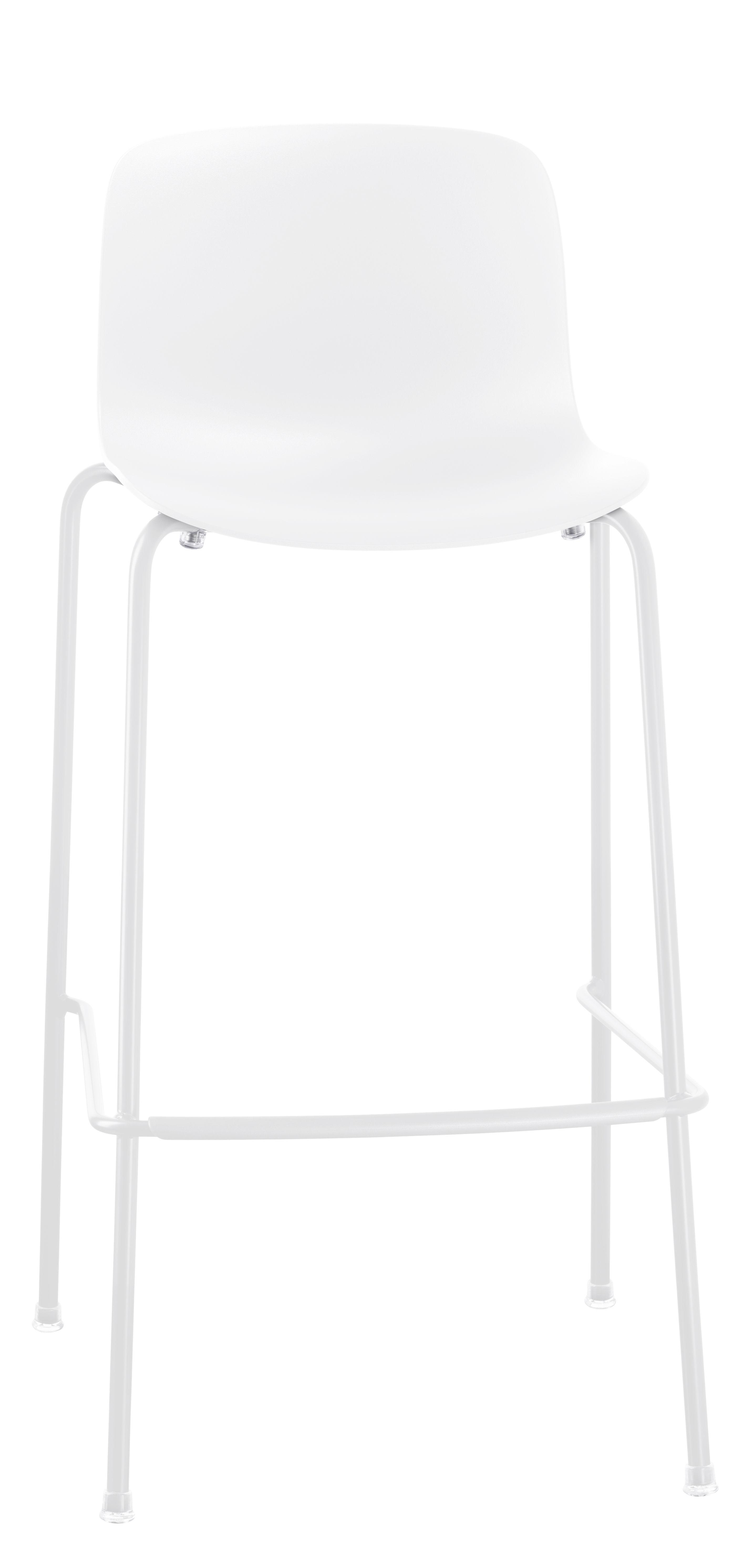 Furniture - Bar Stools - Troy Outdoor Bar stool - Plastic & 4 metal feet - H 65 cm by Magis - White - Polypropylene, Steel