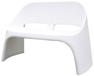Furniture - Benches - Amélie Bench with backrest - 2 seats by Slide - White - recyclable polyethylene