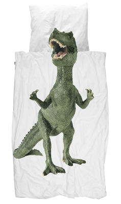 Image of Set biancheria da letto 1 persona Dinosaurus Rex / 140 x 200 cm - Snurk - Verde - Tessuto